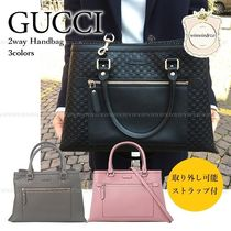 GUCCI 2WAY Leather Office Style Handbags
