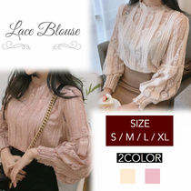 Puffed Sleeves Lace Shirts & Blouses