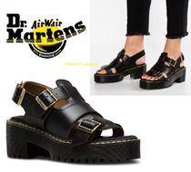 Dr Martens ARIEL Open Toe Platform Casual Style Street Style Plain Leather