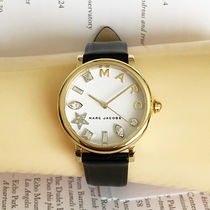 Marc by Marc Jacobs Leather Round Quartz Watches Office Style Analog Watches