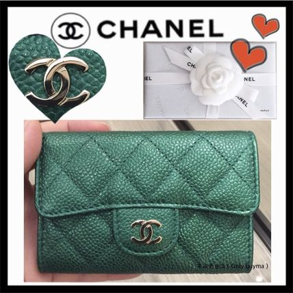 CHANEL MATELASSE Unisex Calfskin Plain Small Wallet Card Holders