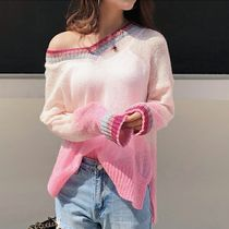 Casual Style V-Neck Long Sleeves Oversized Sweaters