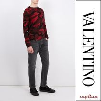 VALENTINO Crew Neck Camouflage Wool Street Style Long Sleeves