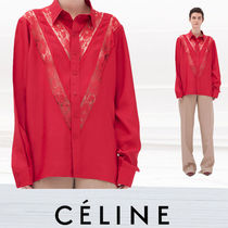 CELINE Flower Patterns Lace-up Casual Style Nylon Street Style