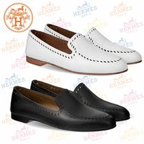 HERMES Moccasin Round Toe Plain Slip-On Shoes