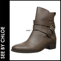 See by Chloe Plain Toe Plain Leather Elegant Style Flat Boots