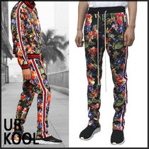 URKOOL Printed Pants Flower Patterns Sweat Street Style Bi-color