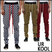 URKOOL Tapered Pants Other Check Patterns Sweat Street Style