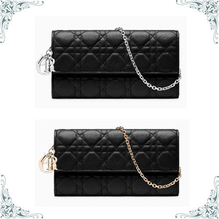 Christian Dior LADY DIOR 2018 SS Lambskin Chain Plain Long Wallets ... 23835820e2616