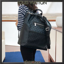 Louis Vuitton DAMIER COBALT Other Plaid Patterns Canvas Blended Fabrics Street Style A4