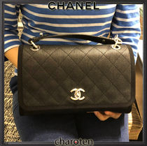 CHANEL ICON Calfskin Blended Fabrics 3WAY Chain Plain Elegant Style