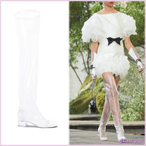 CHANEL Round Toe Bi-color Plain PVC Clothing Elegant Style