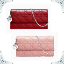 Christian Dior LADY DIOR Calfskin Chain Plain Long Wallets