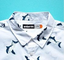 ambsn Other Animal Patterns Cotton Short Sleeves Shirts