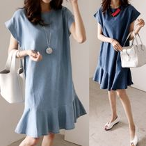 Denim Plain Dresses