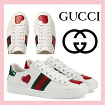 GUCCI Ace Stripes Heart Round Toe Rubber Sole Casual Style
