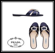 PRADA Open Toe Plain With Jewels Elegant Style Sandals