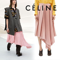 CELINE Casual Style Wool Pleated Skirts Plain Long Maxi Skirts