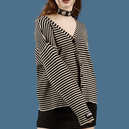 Stripes Casual Style Street Style Long Sleeves Cotton