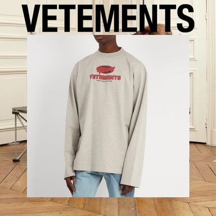 VETEMENTS Long Sleeve Crew Neck Pullovers Street Style Long Sleeves Cotton