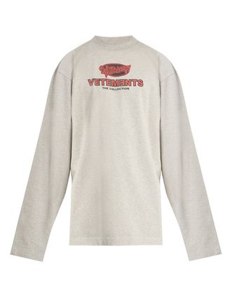 VETEMENTS Long Sleeve Crew Neck Pullovers Street Style Long Sleeves Cotton 2