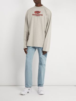 VETEMENTS Long Sleeve Crew Neck Pullovers Street Style Long Sleeves Cotton 3