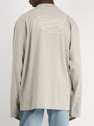 VETEMENTS Long Sleeve Crew Neck Pullovers Street Style Long Sleeves Cotton 4
