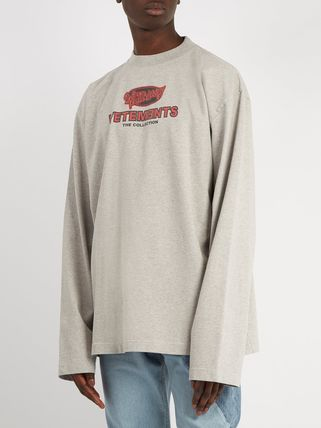 VETEMENTS Long Sleeve Crew Neck Pullovers Street Style Long Sleeves Cotton 5