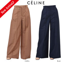 CELINE Linen Plain Long Oversized Elegant Style Pants