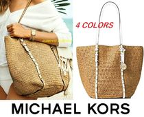 Michael Kors Casual Style Street Style A4 Plain Straw Bags