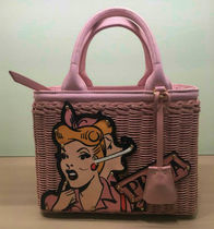 PRADA CANAPA Casual Style Blended Fabrics 2WAY Bi-color Straw Bags