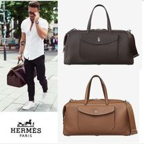HERMES 2WAY Plain Leather Boston Bags