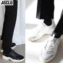 ASCLO Unisex Street Style Plain Leather Oversized Sneakers
