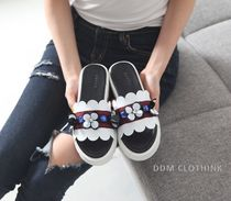 Flower Patterns Open Toe Platform Casual Style With Jewels