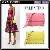 VALENTINO Studded Chain Leather Elegant Style Shoulder Bags