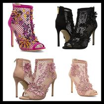 Jessica Simpson Flower Patterns Open Toe Leather Pin Heels Elegant Style