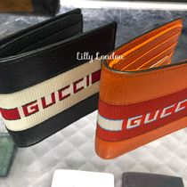 GUCCI Stripes Blended Fabrics Street Style Leather Folding Wallets