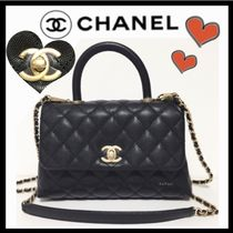 CHANEL MATELASSE Calfskin 2WAY Plain Elegant Style Shoulder Bags
