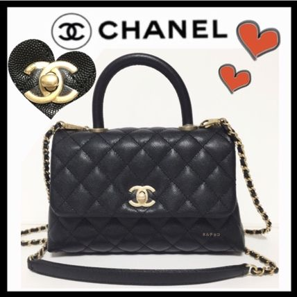 CHANEL Shoulder Bags Calfskin 2WAY Plain Elegant Style Shoulder Bags