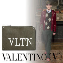 VALENTINO Canvas Studded Street Style A4 Plain Bags