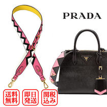 PRADA Blended Fabrics Street Style 2WAY Bi-color Plain Leather