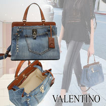VALENTINO Casual Style Calfskin Studded 2WAY Shoulder Bags