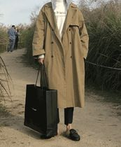 Street Style Plain Long Oversized Khaki Trench Coats
