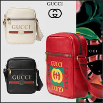 GUCCI Street Style Leather Messenger & Shoulder Bags