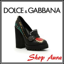 Dolce & Gabbana Casual Style Leather Chunky Heels High Heel Pumps & Mules