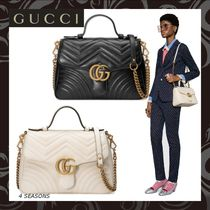 e49502b8169 GUCCI GG Marmont Heart 2WAY Chain Plain Leather Elegant Style ...