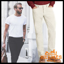 HERMES Street Style Plain Cotton Jeans & Denim