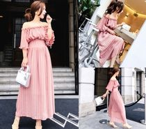 Stripes A-line Cotton Long Elegant Style Puff Sleeves