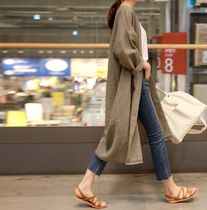 Casual Style Linen Long Sleeves Plain Long Cardigans