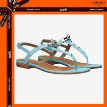 HERMES Open Toe Casual Style Studded Plain Leather Sandals